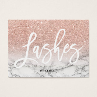 Lashes aftercare typography rose gold marble business card