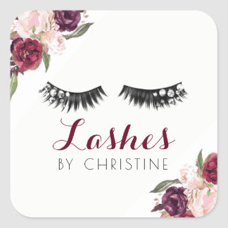lashes and burgundy flowers square sticker
