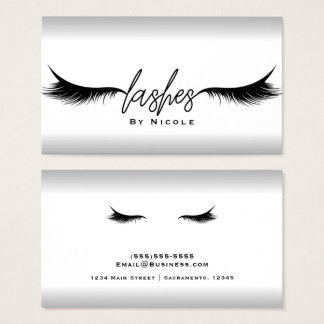 Lashes Black Eyelashes Extensions Makeup Silver Business Card