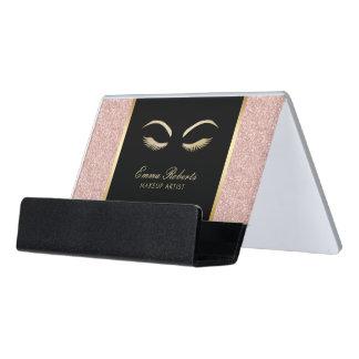 Lashes & Brow Makeup Artist Modern Rose Gold Salon Desk Business Card Holder