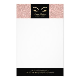 Lashes & Brow Makeup Artist Rose Gold Beauty Salon Stationery Paper
