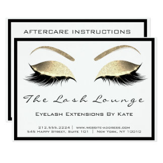 Lashes Extension Aftercare Instruction Gold Glam Card