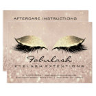 Lashes Extension Aftercare Instruction Gold Makeup Card