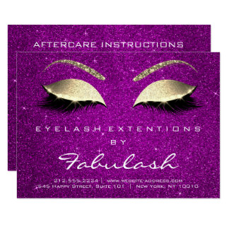 Lashes Extension Aftercare Instruction Pink Magent Card