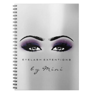 Lashes Extension Eyes Makeup Artist Grey Violet Notebook