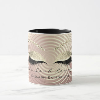 Lashes Extention Beauty Studio Gold Glitter Black Mug