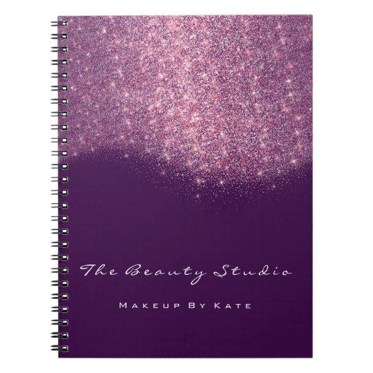 Lashes Eyes Makeup Artist Pink Purple Glitter Notebook