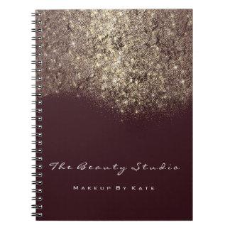 Lashes Eyes Makeup Burgundy Artist Gold Glitter Notebook