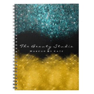 Lashes Eyes Makeup Hair Artist Teal Gold Glitter Notebook