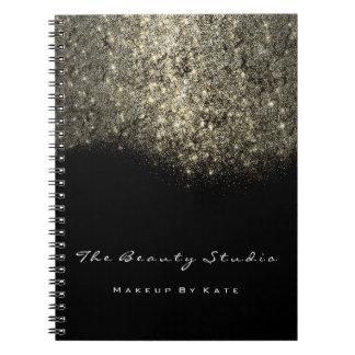 Lashes Eyes Makeup SPA Hair Artist Gold Glitter Notebook