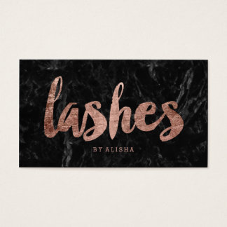 Lashes faux rose gold typography black marble