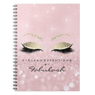 Lashes Glitter Eyes Makeup Pink Rose Gold Name Spiral Notebook