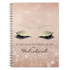 Lashes Glitter Eyes Makeup Pink Rose Gold Skinny Notebook
