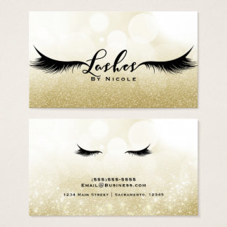 Lashes Gold Sparkle Glamour Eyelashes Chic Makeup Business Card