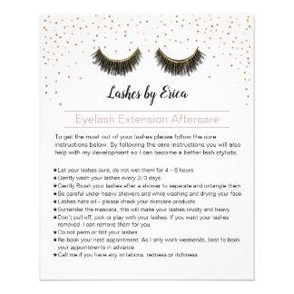 Lashes Makeup Artist Eyelash Aftercare Instruction Flyer