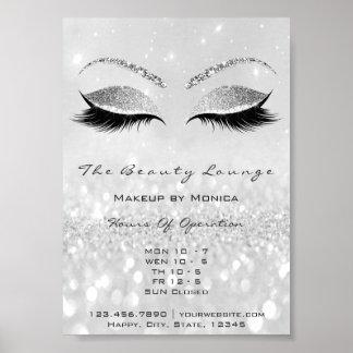 Lashes Makeup Artist Glitter Beauty Salon Gray Poster
