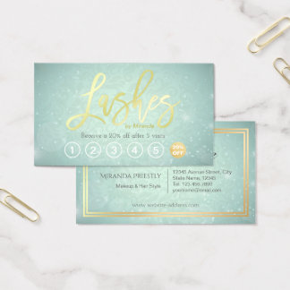 Lashes Makeup Artist Gold Script Loyalty Punch Business Card