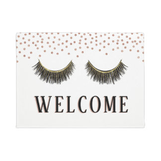 Lashes Makeup Artist Rose Gold Confetti Welcome Doormat