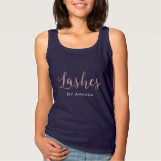 Lashes Makeup Artist Rose Gold Typography Navy Singlet
