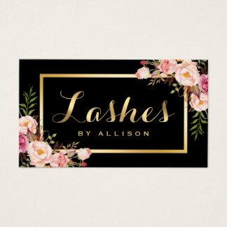 Lashes Script Modern Makeup Black Gold Floral