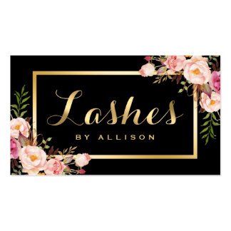 Lashes Script Modern Makeup Black Gold Floral Pack Of Standard Business Cards