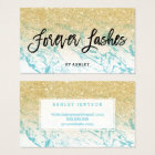 Lashes typography gold glitter marble business card