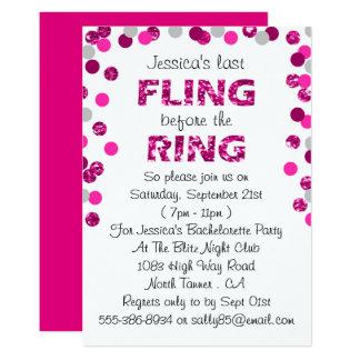 Last Fling Before The Ring Bachelorette Party 13 Cm X 18 Cm Invitation Card