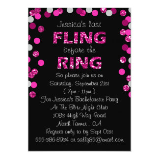 Last Fling Before The Ring Bachelorette Party 13 Cm X 18 Cm Invitation Card