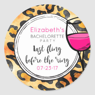 Last Fling Before The Ring Wild Bachelorette Round Sticker