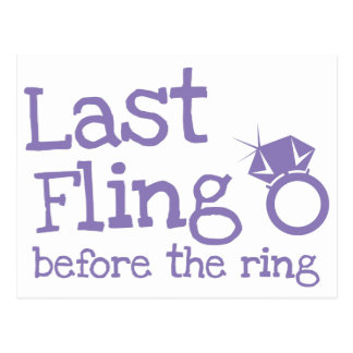 Last fling before the ring with diamond postcard