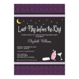 Last Fling Zebra Bachelorette Invitation (purple)