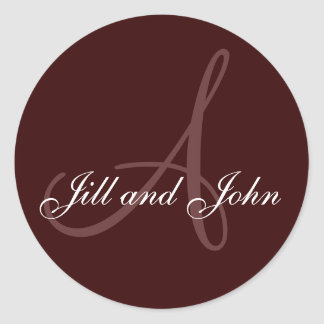 Last Name Initial A plus First Names Brown Round Sticker