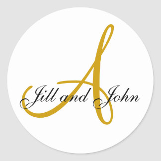 Last Name Initial A plus First Names Gold Sticker