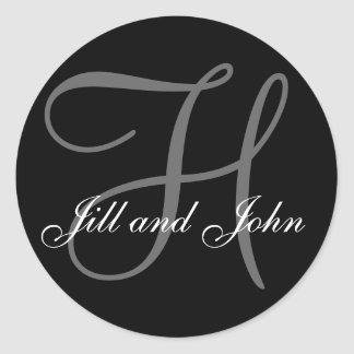 Last Name Initial H plus First Names Black Sticker