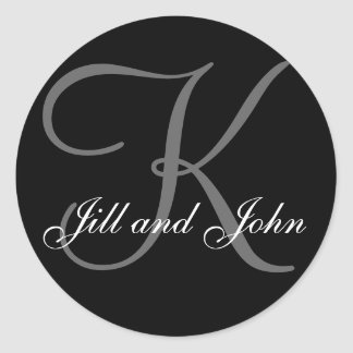 Last Name Initial K plus First Names Black Sticker