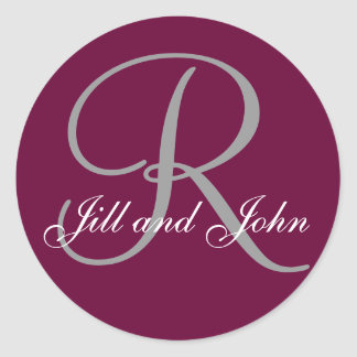 Last Name Initial R plus First Names Wine and Grey Round Sticker