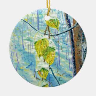 Last of the Leaves Ceramic Ornament