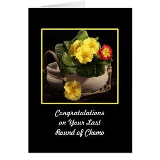 Last Round of Chemo Congratulations Card Primroses