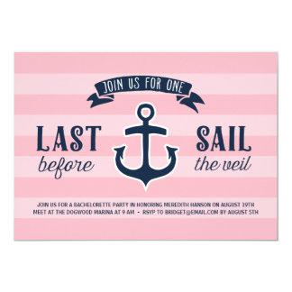 Last Sail | Nautical Bachelorette Party 13 Cm X 18 Cm Invitation Card