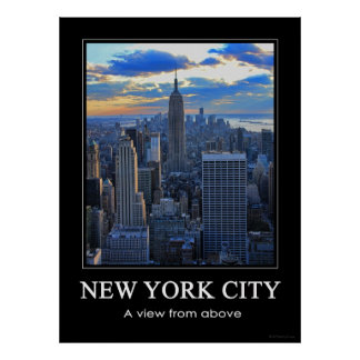 Late afternoon NYC Skyline as sunset approaches 1C Poster