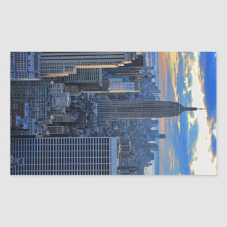 Late afternoon NYC Skyline as sunset approaches Rectangular Sticker