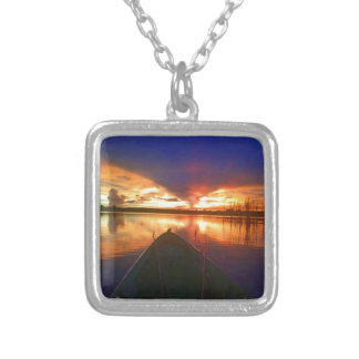 Late Afternoon Sunset Silver Plated Necklace