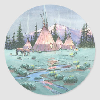 LATE AFTERNOON TIPI CAMP by SHARON SHARPE Classic Round Sticker