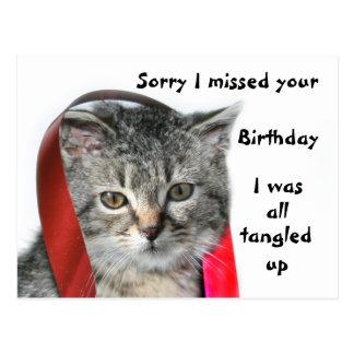 Late Birthday kitten Postcard