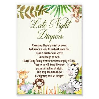 Late Night Diapers Sign, Baby Shower, Safari Photo Print