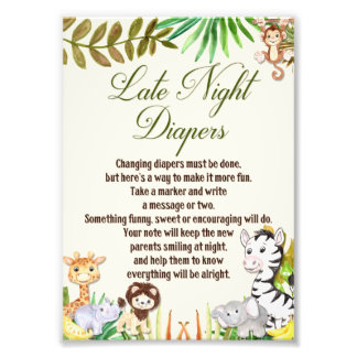 Late Night Diapers Sign, Baby Shower, Safari Photograph