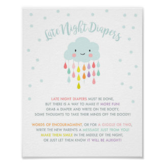 Late Night Diapers sign Cloud Raindrops Rainbow Poster