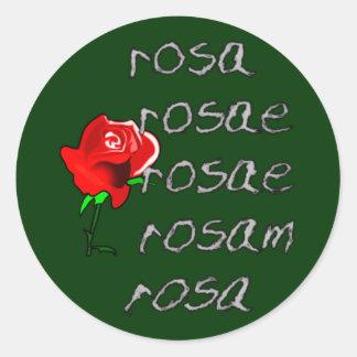 Latein Rose Deklination latin rose declension Classic Round Sticker