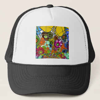 Latest colorful amazing floral pattern design art. trucker hat