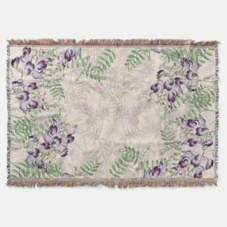 Lathyrus Vetch Sweet Pea Flowers Throw Blanket